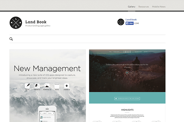 Land-book - best landing pages gallery
