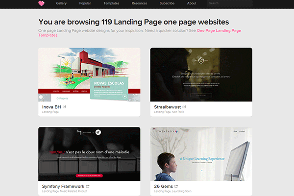 One Page Landing Page Websites