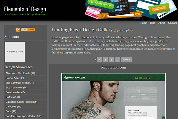 Landing Pages Design Gallery | Elements of Design